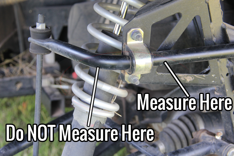 how to measure a sway bar diameter location