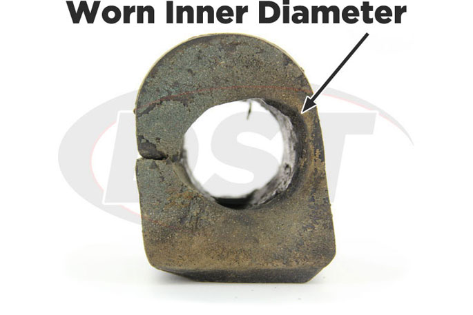 worn inner diameter of a sway bar bushing