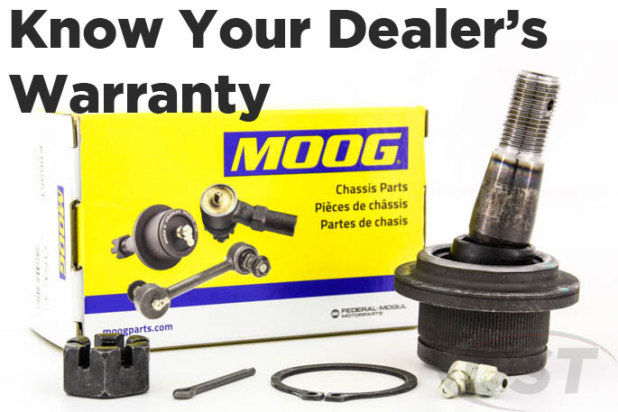 know your moog dealers warranty