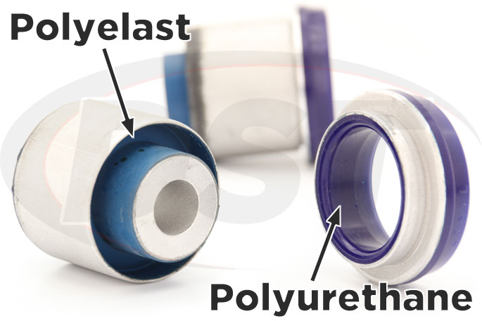 polyelast and polyurethane rear subframe bushings 15-17 mustang