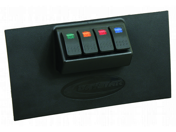 Lower Dash Switch Panel - 4 Rocker Switches - Black