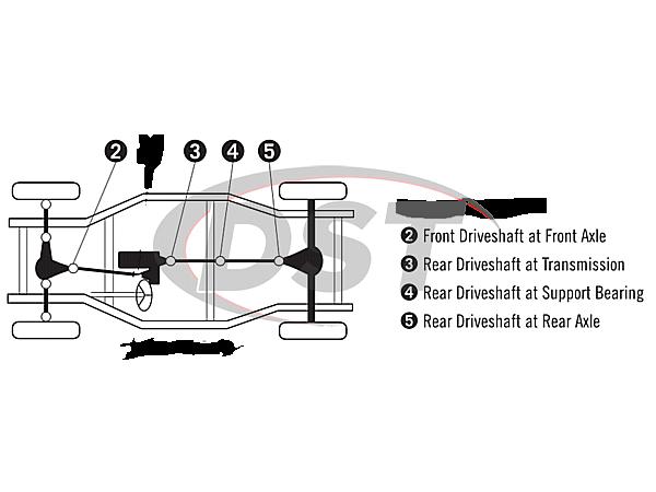 moog-ujoint-packagedeal117 U Joint Package - Dodge Ram 1500 4WD 2009 (Except Mega Cab)