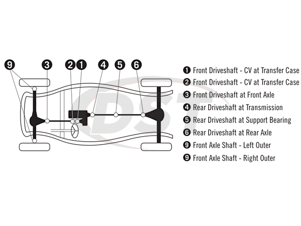 U Joint Package - Dodge Ram 1500 4WD 06-08 (Mega Cab Only)