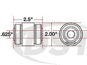 spc-15609 xAxis Sealed Flex Joint - 0.625 ID - 2.0 OD - 2.5 Length