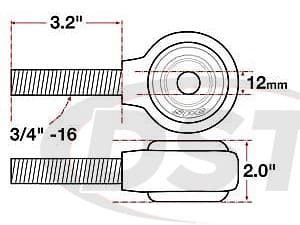 spc-15733 xAxis Forged Receiver Assembly - 12mm ID - 2 Inch Width - 3/4-16 Left Hand Thread - 3.2 Inch Thread Length