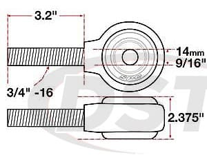 spc-15734 xAxis Forged Receiver Assembly - 14mm ID - 2.375 Inch Width - 3/4-16 Right Hand Thread - 3.2 Inch Thread Length