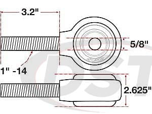 spc-15736 xAxis Forged Receiver Assembly - 5/8 Inch ID - 2.625 Inch Width - 1 Inch-14 Right Hand Thread - 3.2 Inch Thread Length