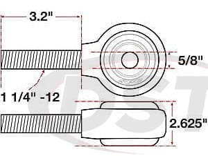 spc-15738 xAxis Forged Receiver Assembly - 5/8 Inch ID - 2.625 Inch Width - 1-1/4 Inch-12 Right Hand Thread - 3.2 Inch Thread Length