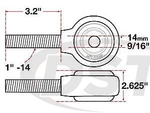 spc-15741 xAxis Forged Receiver Assembly - 14mm ID - 2.625 Inch Width - 1 Inch-14 Left Hand Thread - 3.2 Inch Thread Length