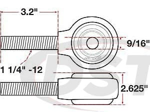 spc-15742 xAxis Forged Receiver Assembly - 9/16 Inch ID - 2.625 Inch Width - 1-1/4 Inch-12 Right Hand Thread - 3.2 Inch Thread Length