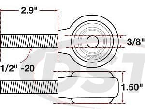 spc-15744 xAxis Forged Receiver Assembly - 3/8 Inch ID - 1.5 Inch Width - 1/2 Inch-20 Right Hand Thread - 2.9 Inch Thread Length