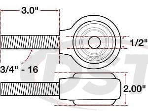 spc-15746 xAxis Forged Receiver Assembly - 1/2 Inch ID - 2 Inch Width - 3/4 Inch-16 Right Hand Thread - 3 Inch Thread Length