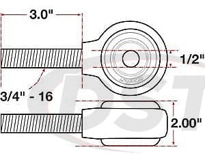 spc-15747 xAxis Forged Receiver Assembly - 1/2 Inch ID - 2 Inch Width - 3/4 Inch-16 Left Hand Thread - 3 Inch Thread Length