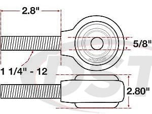 spc-15748 xAxis Forged Receiver Assembly - 5/8 Inch ID - 2.5 Inch Width - 1-1/4 Inch-12 Right Hand Thread - 2.8 Inch Thread Length