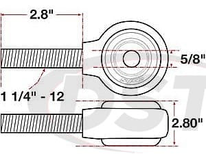spc-15749 xAxis Forged Receiver Assembly - 5/8 Inch ID - 2.5 Inch Width - 1-1/4 Inch-12 Left Hand Thread - 2.8 Inch Thread Length