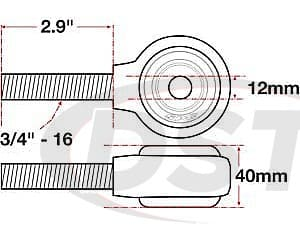 spc-15752 xAxis Forged Receiver Assembly - 12mm ID - 40mm Width - 3/4 Inch-16 Right Hand Thread - 2.9 Inch Thread Length