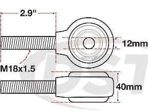 spc-15754 xAxis Forged Receiver Assembly - 12mm ID - 40mm - M18x1.5 Right Hand Thread - 2.9 Inch Thread Length