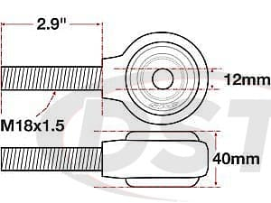 spc-15755 xAxis Forged Receiver Assembly - 12mm ID - 40mm - M18x1.5 Left Hand Thread - 2.9 Inch Thread Length