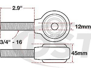 spc-15764 xAxis Forged Receiver Assembly - 12mm ID - 45mm Width - 3/4-16 Right Hand Thread - 2.9 Inch Thread Length