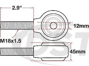 spc-15766 xAxis Forged Receiver Assembly - 12mm ID - 45mm Width - M18x1.5 Right Hand Thread - 2.9 Inch Thread Length