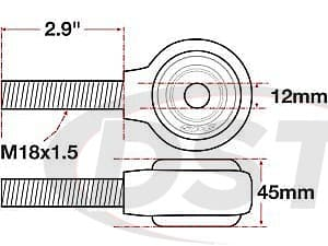 spc-15767 xAxis Forged Receiver Assembly - 12mm ID - 45mm Width - M18x1.5 Left Hand Thread - 2.9 Inch Thread Length