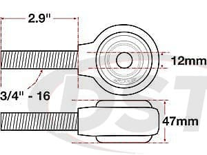 spc-15768 xAxis Forged Receiver Assembly - 12mm ID - 47mm Width - 3/4 Inch-16 Right Hand Thread - 2.9 Inch Thread Length