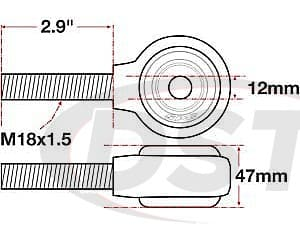spc-15770 xAxis Forged Receiver Assembly - 12mm ID - 47mm Width - M18x1.5 Right Hand Thread - 2.9 Inch Thread Length
