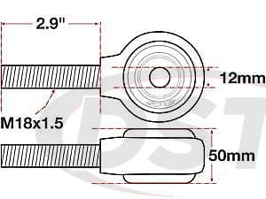 spc-15775 xAxis Forged Receiver Assembly - 12mm ID - 50mm Width - M18x1.5 Left Hand Thread - 2.9 Inch Thread Length