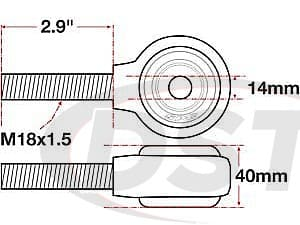 spc-15787 xAxis Forged Receiver Assembly | 14mm ID | 40mm Width | M18x1.5 Left Hand Thread | 2.9 Inch Thread Length