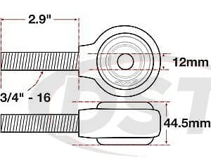 spc-15792 xAxis Forged Receiver Assembly | 12mm ID | 44.5mm Width | 3/4Inch-16 Right Hand Thread | 2.9 Inch Thread Length