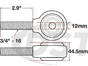 spc-15793 xAxis Forged Receiver Assembly | 12mm ID | 44.5mm Width | 3/4Inch-16 Left Hand Thread | 2.9 Inch Thread Length