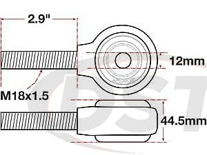 spc-15795 xAxis Forged Receiver Assembly | 12mm ID | 44.5mm Width | M18x1.5 Left Hand Thread | 2.9 Inch Thread Length