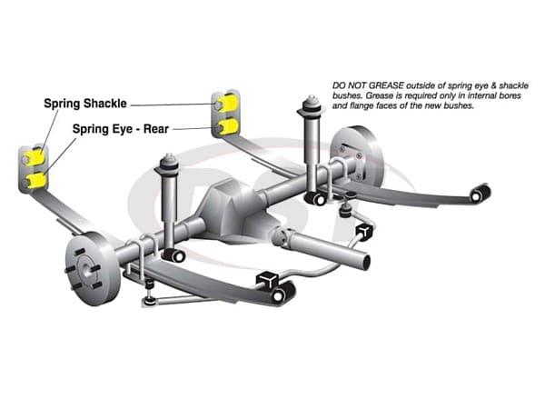 w72364 Rear Spring Eye and Shackle Bushing Kit